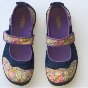 Keen Blue Denim and Floral Mary Janes EUC